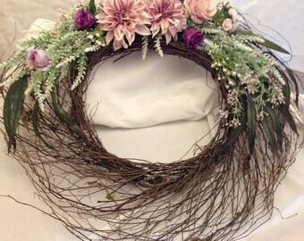 Pink Wicker Wreath