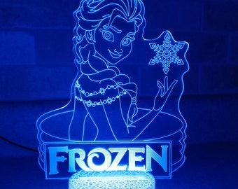 Frozen Elsa Night Lamp, 3D Night Light Children Light Home Decor Illusion light