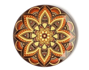 Wall plate Decorative plate deep purple Wall hanging plate Hand painted wall art Anniversary gifts Wall decor Mandala plate