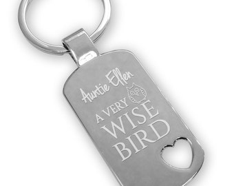 Personalised engraved AUNTIE AUNT aunty keyring gift idea, Wise bird - owl design, heart cut out - WB4