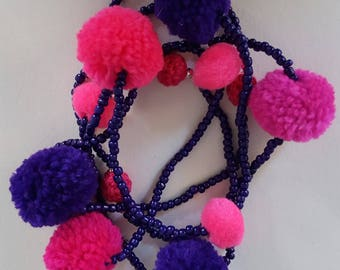 Purple and Pink beaded pompom necklace