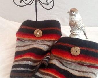 Striped wool boot cuffs