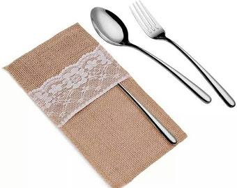 50 Pieces Lot Natural Jute Lace Pockets Rustic Wedding Tableware Packaging Fork & Knife Burlap Holder Cutlery Pocket