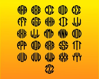 Monogram SVG fonts files for Cricut Silhouette designs Clipart Png files
