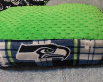 Seahawk Minky Dog Bed-12th Dog Bed-Handmade Dog Bed-Cushy Dog Bed-Washable Dog Bed-Seahawks Pet Bed-Fleece Minky Dog Bed-Cozy Fleece Dog Bed