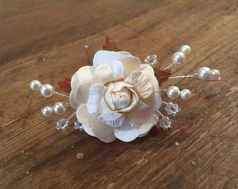 Rose and Pearl Hair Pin