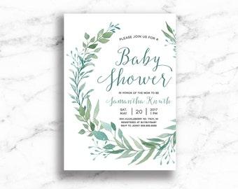 Water Color Leaf Baby Shower Invite // Wreath Baby Shower Invite // Baby shower Invite // Digital // Printable // Wedding Shower Invite