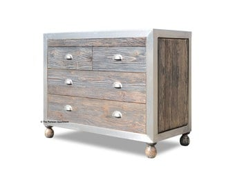 rustic 4 drawer chest solid wood with metal edging