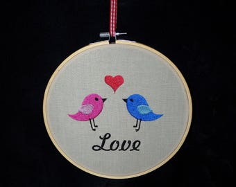 Handmade Love Birds Embroidery Hoop Wall Art