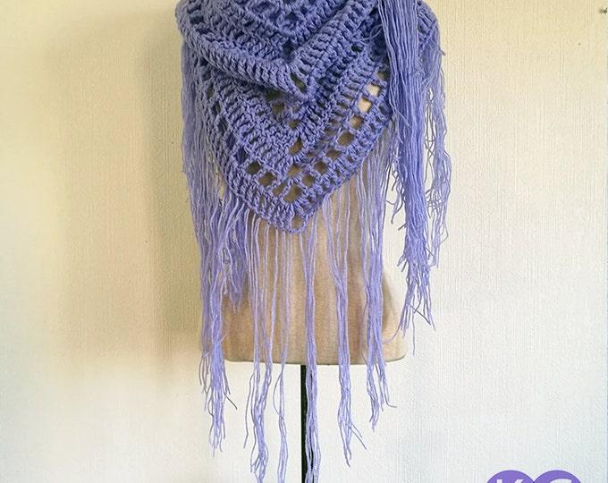 Crochet Shawl, Crocheted Shawl, Blue Shawl, Gift for Him, Gift for Her, Wraps Shawls, Lavender Blue Shawl, Hand Crocheted, Meditation Shawl,