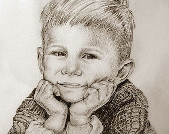 Child Portrait in Pencil and Waterolor on Watercolor Paper