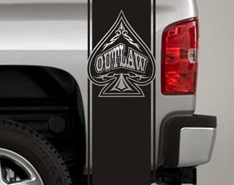 Truck Bed Stripe Decals - Outlaw Spade Stickers - Universal Fit (Pair x2)