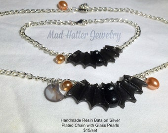 Handmade Resin Bats on Silver Plated Chains with Glass Pearls Bracelet and Necklace Set
