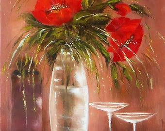 Still life Bouquet Flowers red poppy, Oil painting poppies on canvas, Red flower painting wall art