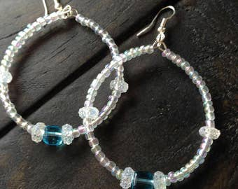 Opalescent hoops with Aqua accents