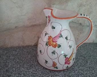 Painted decorative pitcher, vase, jug, carafe, pitcher with floral pattern