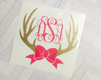 Monogram deer horns Decal, Deer Horns Monogram decal, Deerhorns decal, monogram, yeti cup decal for women, rtic cup decal, yeti cup decal