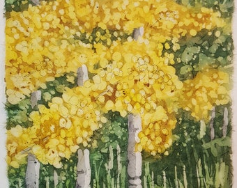 Marshall Pass Aspens 4 - Original rice paper batik, watercolor batik, handmade, watercolor painting, mountain, Colorado, landscape