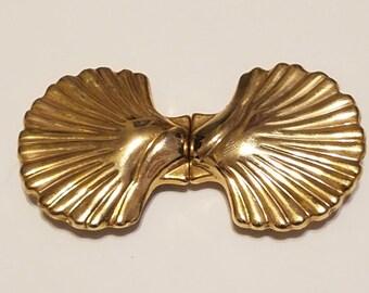 Vintage Gold Seashell Two-Piece Women's Belt Buckle
