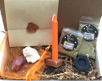 FERTILITY Ritual Kit- Charm Bag w/Moonstone and Carnelian, Candle Magic, Incense, Herbal Magic wicca magick spell kit pagan pregnancy