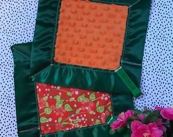 A Floral Orange lovey blanket-security blanket-sensory blanket-baby shower gift