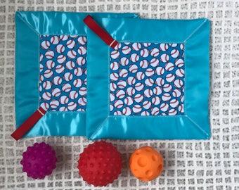 I dream of baseball lovey blanket-security blanket-sensory blanket-baby shower gift