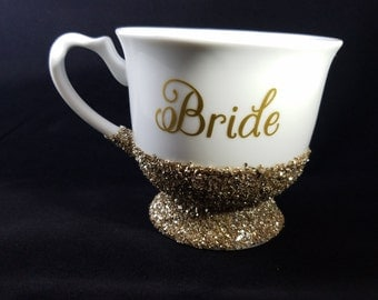 Glittered Bride Mug-Engaged-Wedding Day-Gift for Bride-Engagment Gift