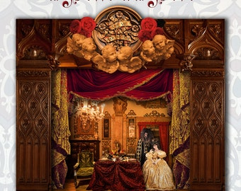 Beauty and the Beast toy theater. Cut-out Toy Theater. Paper craft kit. Baroque Puppet Theater. Gift idea. Gift for her. Viona ielegems.