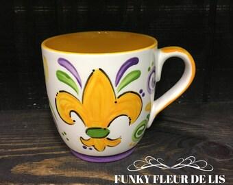 Handpainted Mardi Gras Fleur de Lis Mug