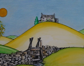 The House On The Hill,  Fine Art Print,  Watercolour art,  Modern Art, Interior design, Contemporary, Quirky, Landscape, New Home Gift