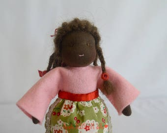 Little girl. Waldorf dolls. Ethnic doll. African Waldorf doll. Sweet little girl doll. Waldorf dolls for nature table. Felt dolls.