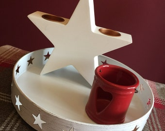 White Lime-Washed Metal Tray with Stars