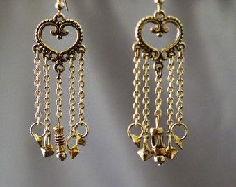 Studded chain fringe earrings