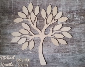 Wedding tree - guestbook wedding wedding tree from wood personalized type 5-25 guests