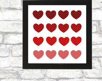 Red Polka Hearts printable wall art calligraphy wall print love romantic 8x8