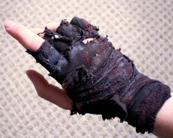 Mad Max Inspired Post-Apocalyptic Single Ragged Fingerless Wrap Glove