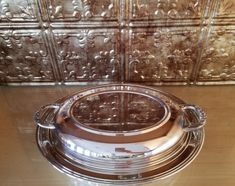 Leonard Silverplated Serving Tray with Ovenware Glass Tray and Lid