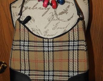 Vintage Valerie Stevens Shoulder Hand Bag, Tan & Black Plaid Shoulder Purse, Evening Bag, Stevens Black and Tan Plaid Bags, Plaid Designer