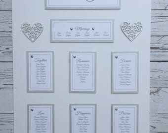 Handmade Wedding Table Plan with Hearts A3, A2 or A1 Various Colours