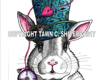 Rabbit Portrait, White Rabbit, Alice In Wonderland, Children's Print, Wall Decor, Hand Drawn, Pen and Ink, Colored Pencil