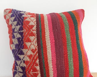 Andes trail pillow case, peruvian handmade pillow decorative, Colors ands stripes, embroidered, ethnic and fair trade. From Cuzco Peru.