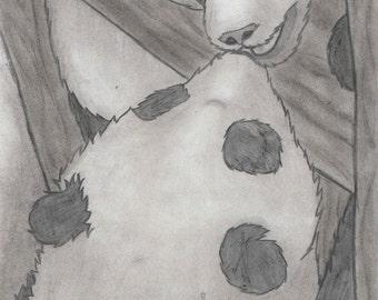Panda Charcoal Drawing, Giclee Print 8x10, Giant Panda Art, Wall Art