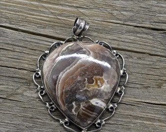 Vintage Southwestern Sterling Silver Agate Pendant 925 Jewelry