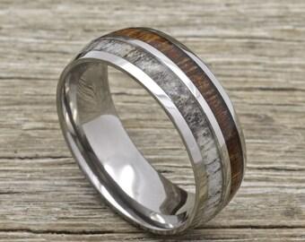 Titanium deer Antler Ring with Koa Wood Inlay, 8mm Comfort Fit Wedding Band