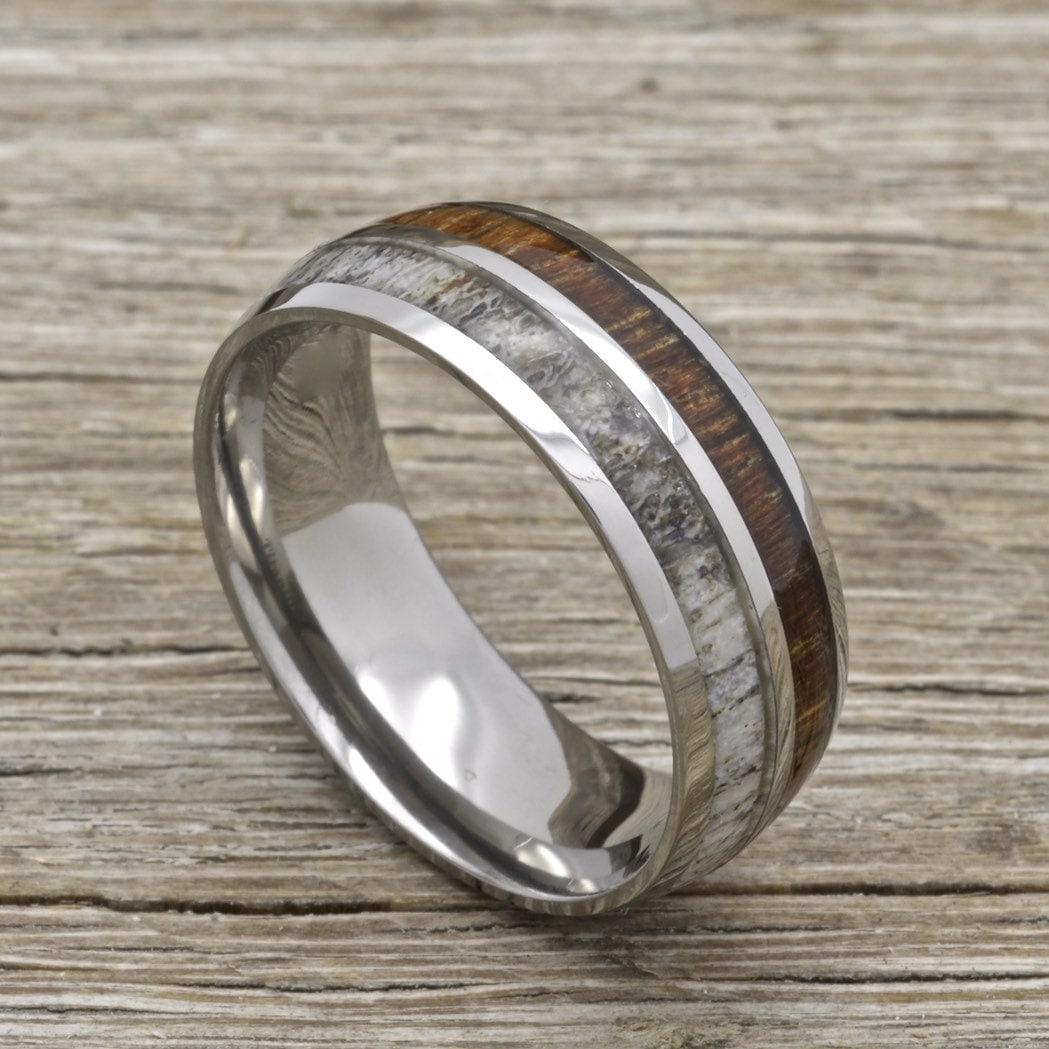 titanium deer antler ring with koa wood inlay 8mm comfort fit wedding band - Antler Wedding Rings