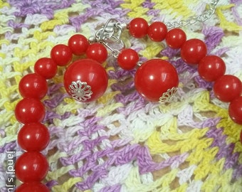 Red graduated beads necklace with pierced  leverback dangle earrings
