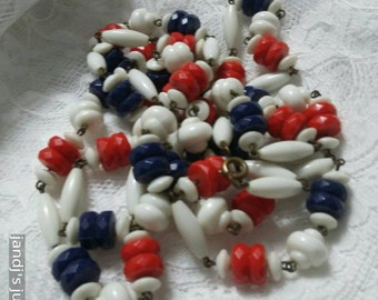 Rope length Long Red white and blue single strand  beaded very long necklace vintage