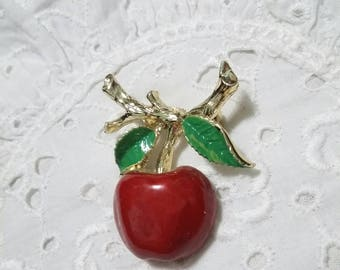 Cherry brooch signed Steven Marc