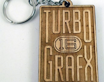 TurboGrafx 16 Logo Laser Engraved Wood Keychain