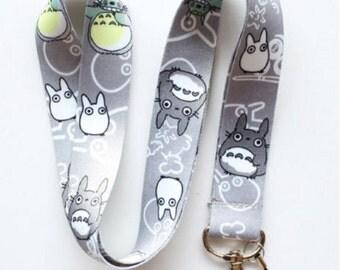 Totoro Neck Strap Lanyard Grey Nylon Fabrick Cell Phone Camera ID Card Keychain Anime Gift